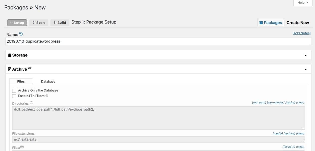 Page de configuration du plugin du duplicator