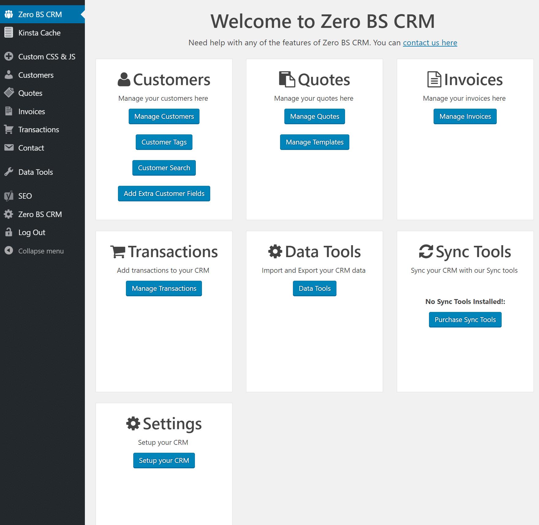 Vue d'ensemble du tableau de bord de Zero BS CRM
