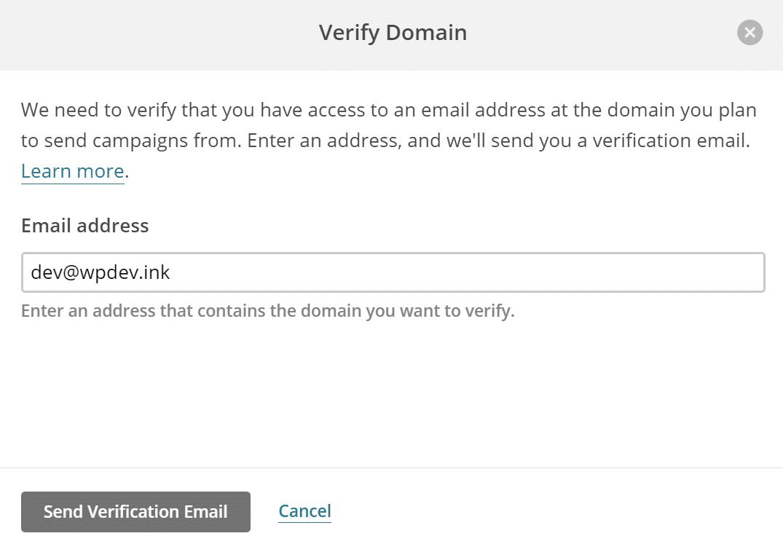 Envoyer un e-mail de vérification