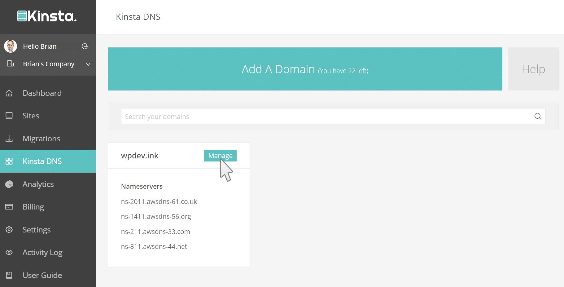 Gérer les DNS dans MyKinsta