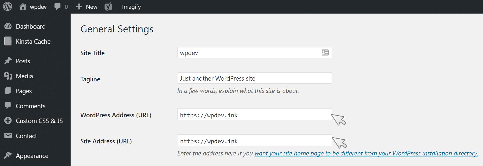 Mise à jour de l'URL WordPress dans le tableau de bord