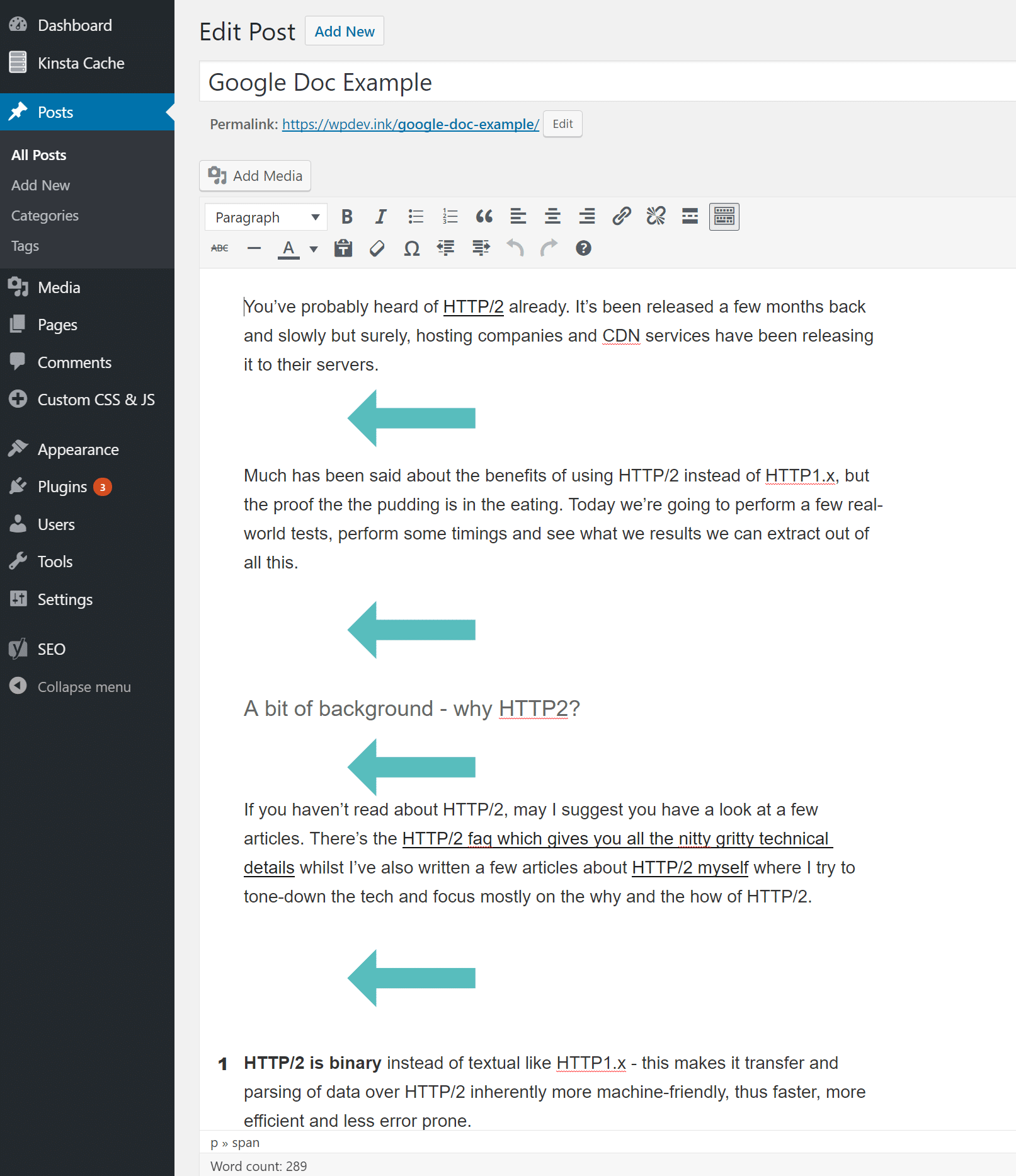Problème d'espacement entre Google Docs et WordPress
