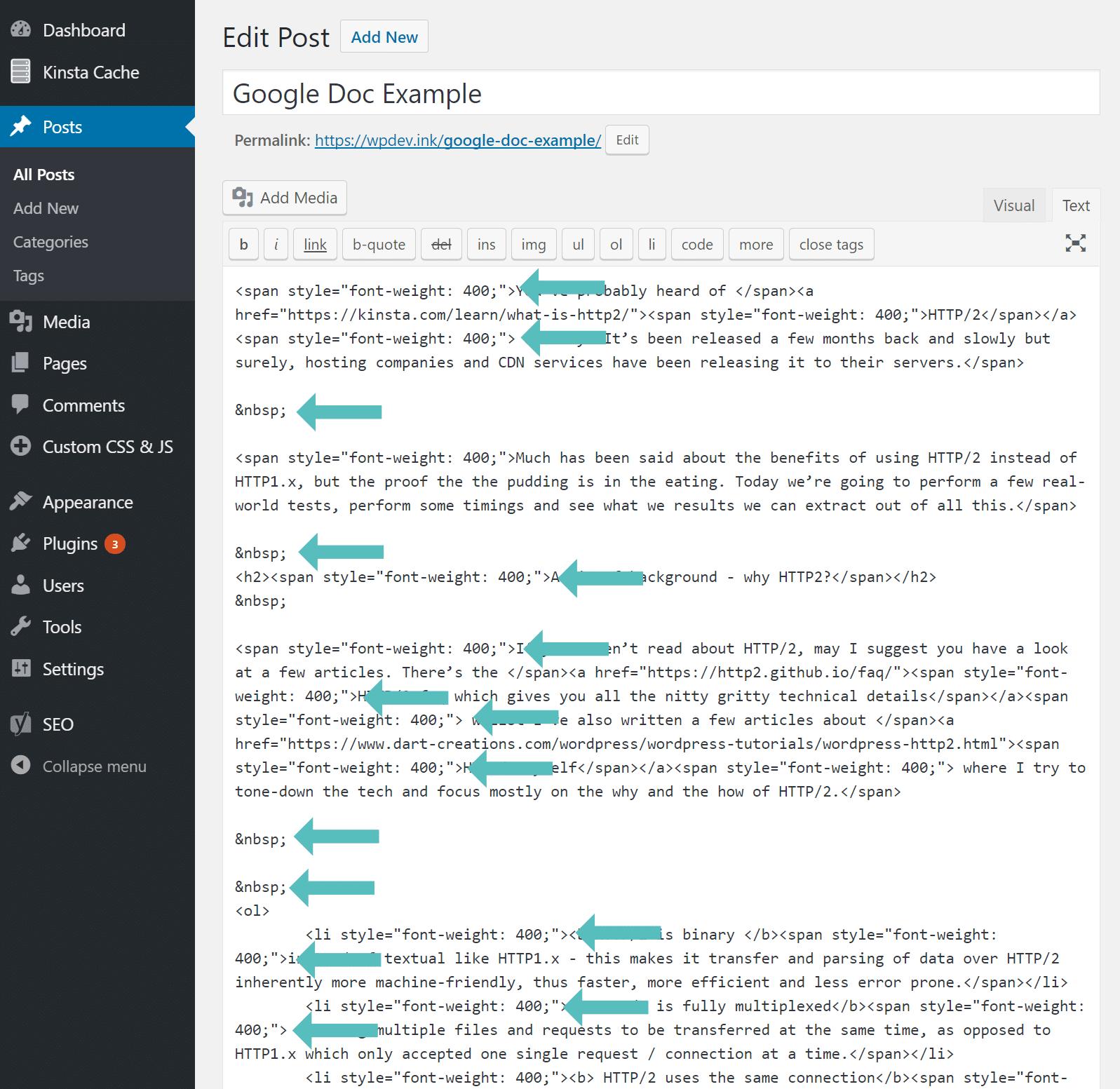 Problème de style de span Google Docs vers WordPress
