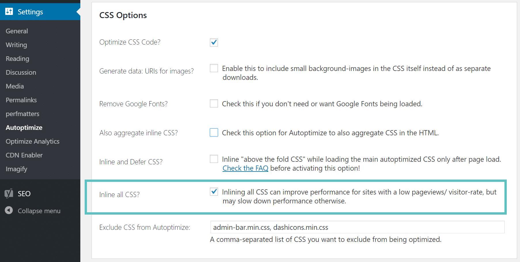 Inline CSS sur Autoptimize