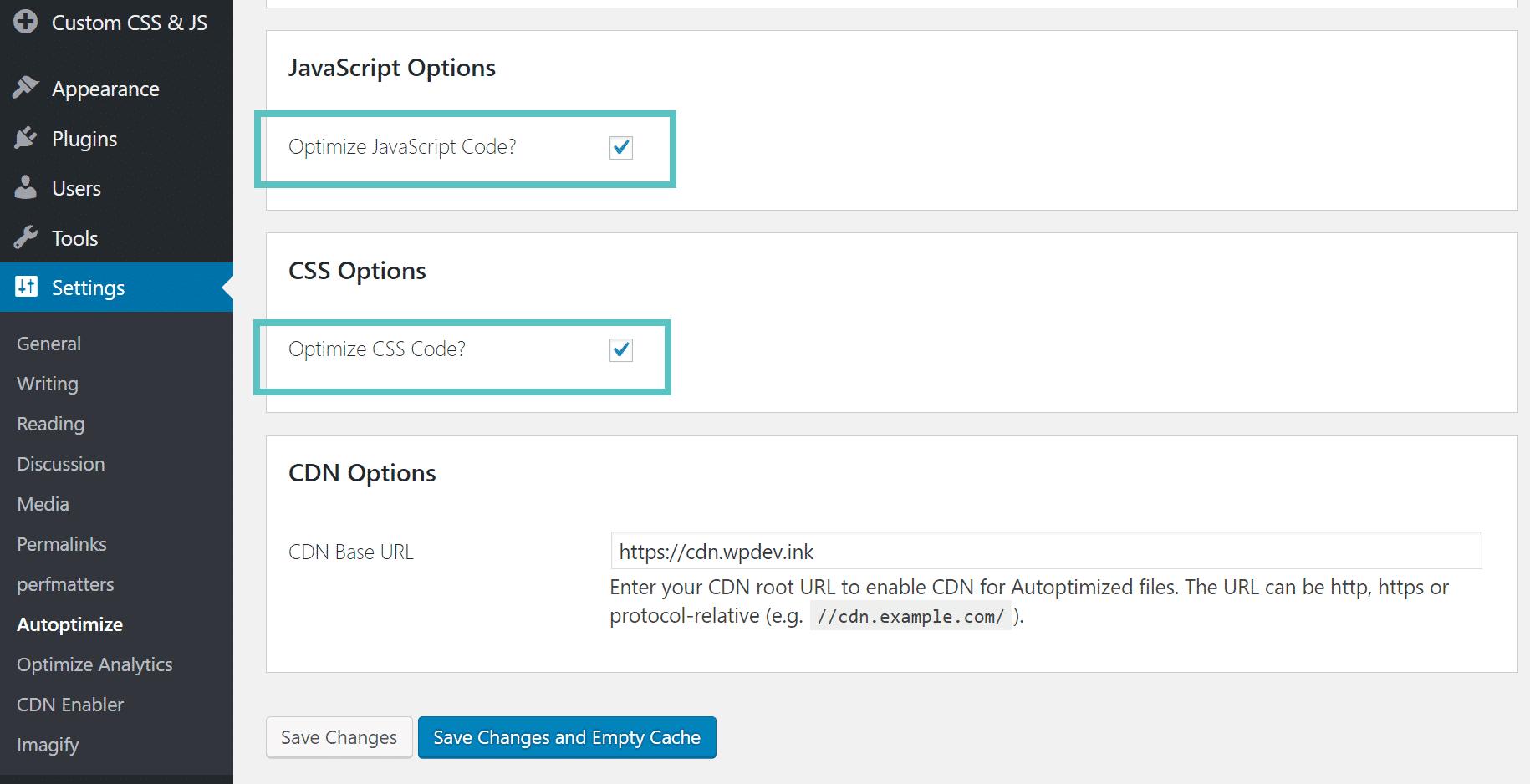 Autoptimize minify CSS et JavaScript