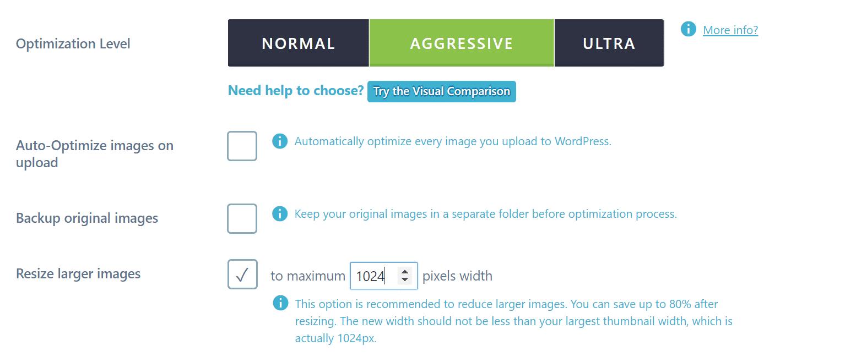 Redimensionner les images dans Imagify