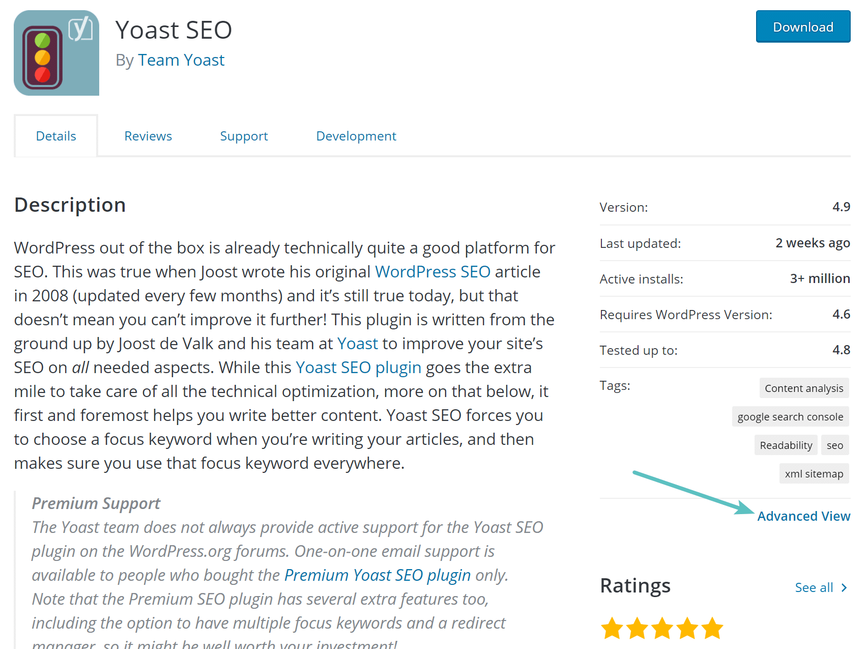 Vue avancée de l'extension WordPress