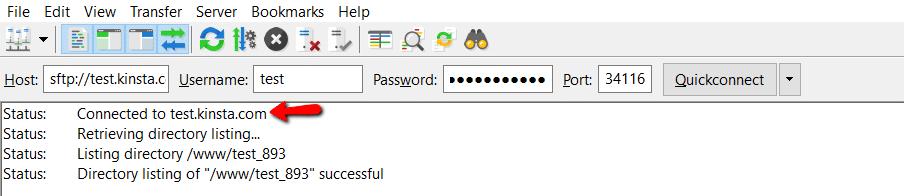 Connecté avec le client FTP Filezilla