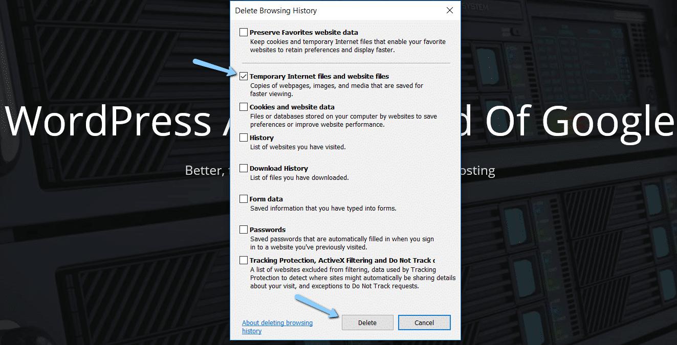 Effacer le cache du navigateur dans Internet Explorer