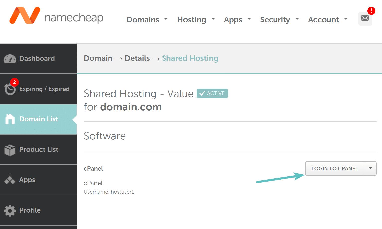 Exemple de lien cPanel sur NameCheap