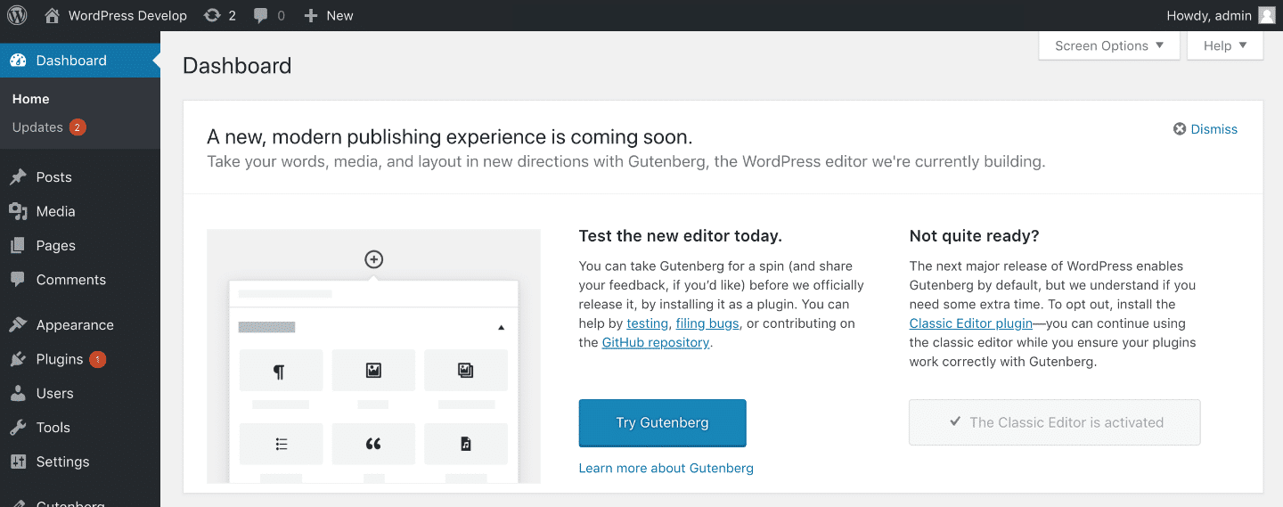 Message Gutenberg WordPress 5.0