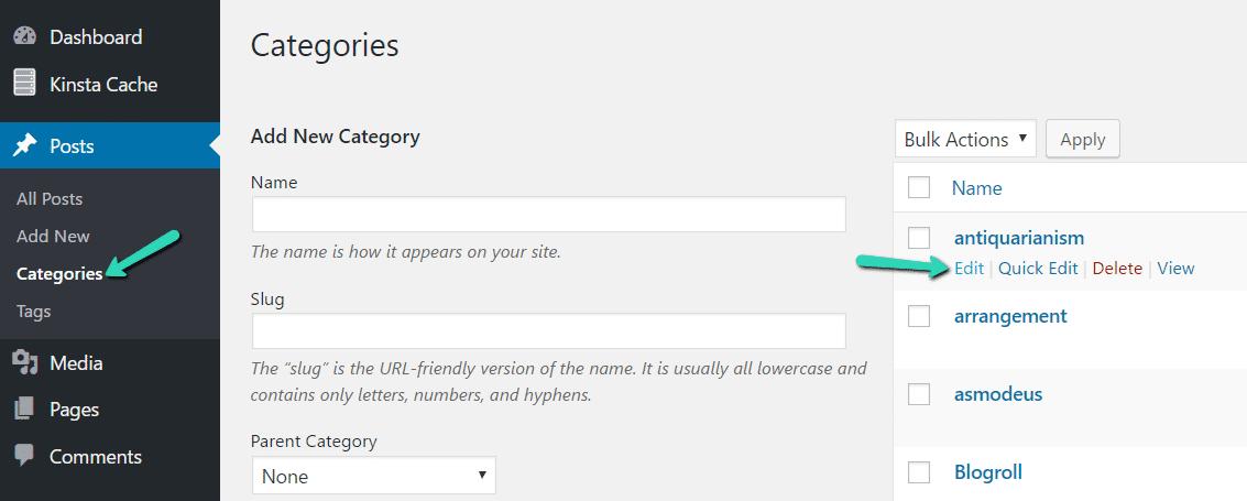 Modifier les catégories