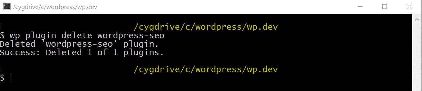 Supprimer l'extension WordPress via WP-CLI