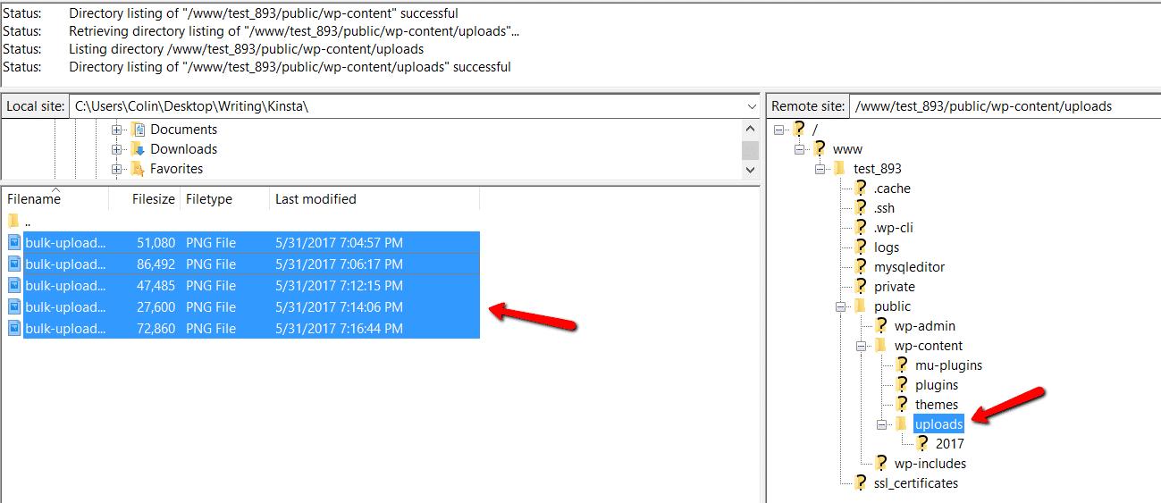 Téléchargement des fichiers locaux via FTP