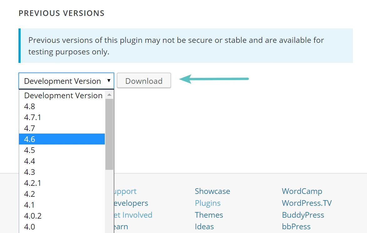 Télécharger les versions précédentes de l'extension WordPress