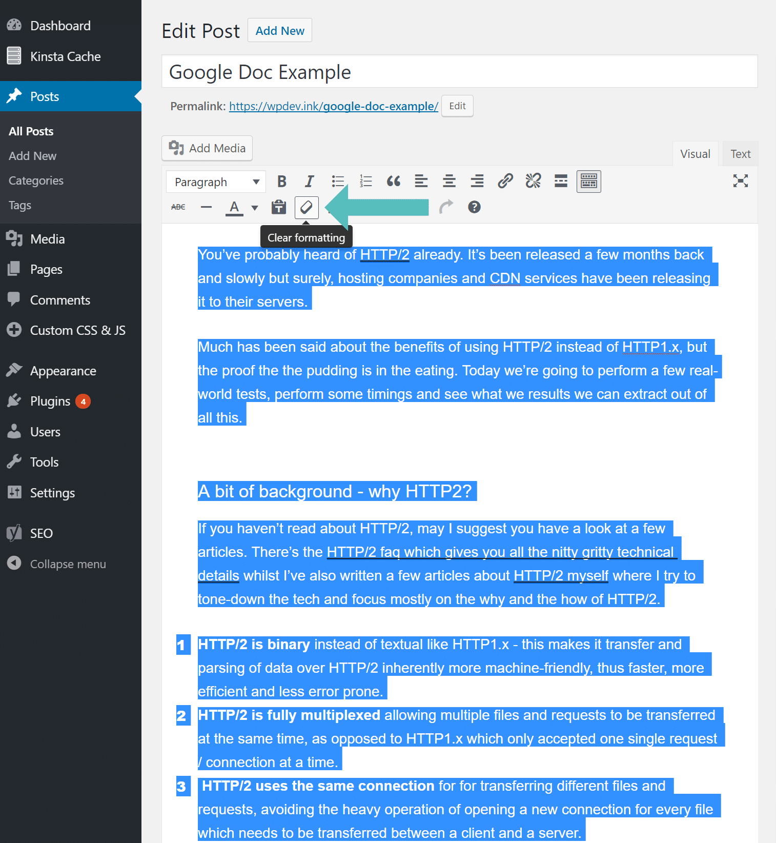 Effacer le formatage WordPress