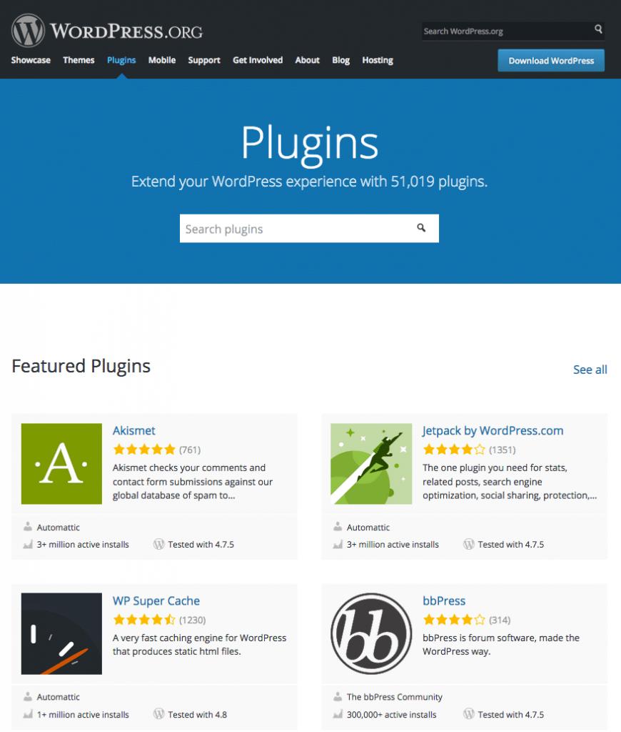 Le répertoire des extensions WordPress