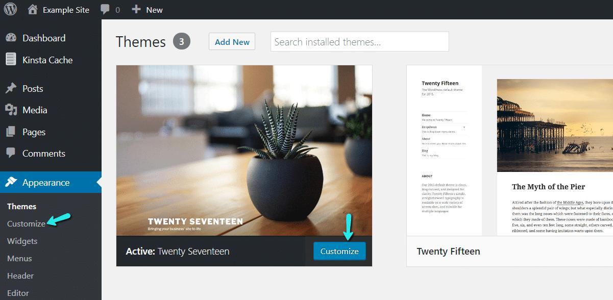 Trouver le personnalisateur WordPress