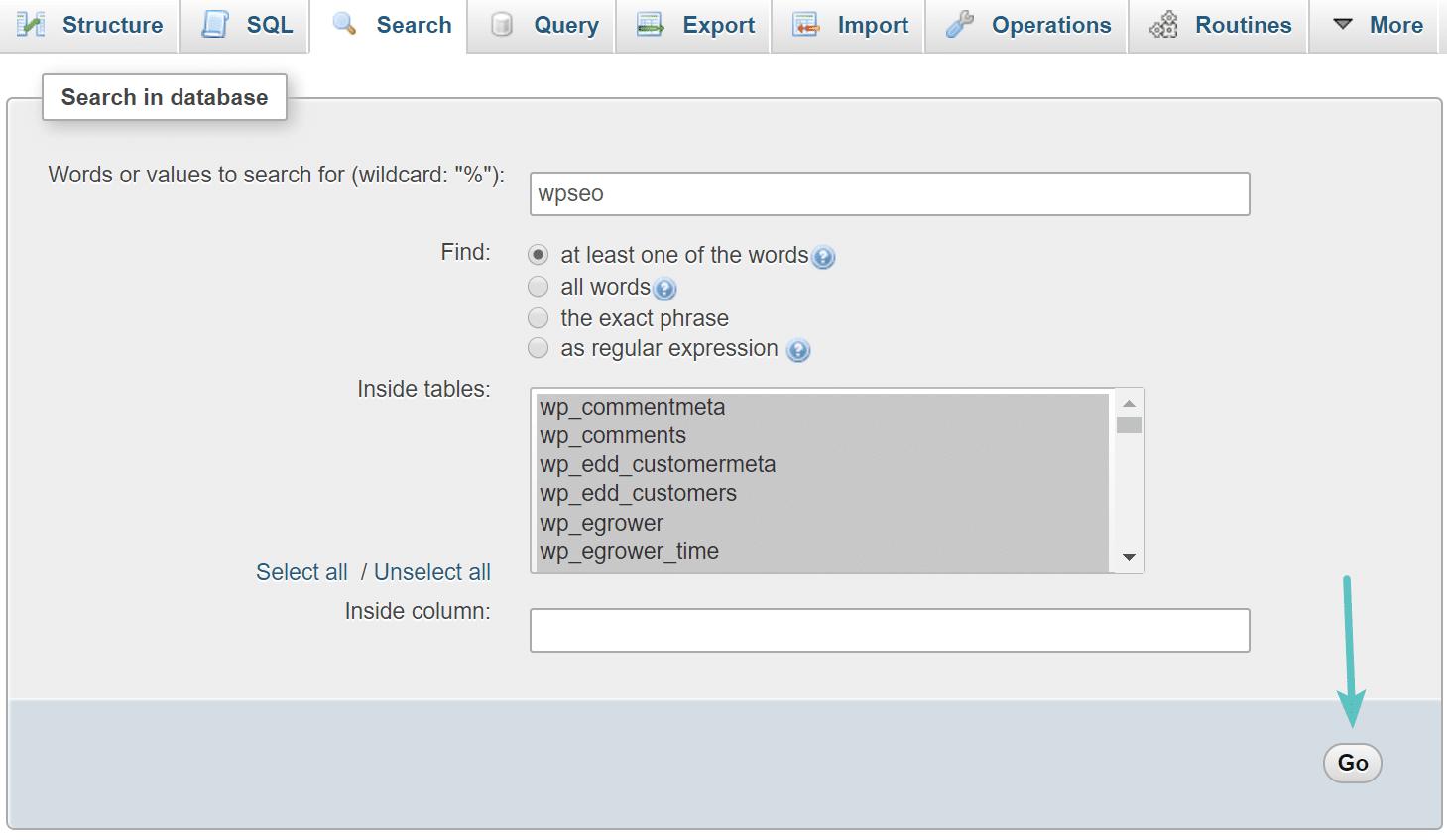 Rechercher wpseo dans la base de données