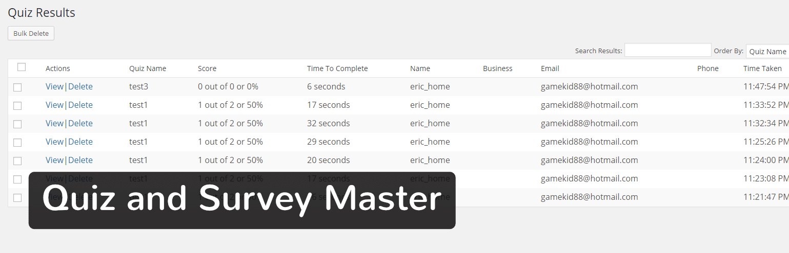 Extension WordPress Quiz and Survey Master