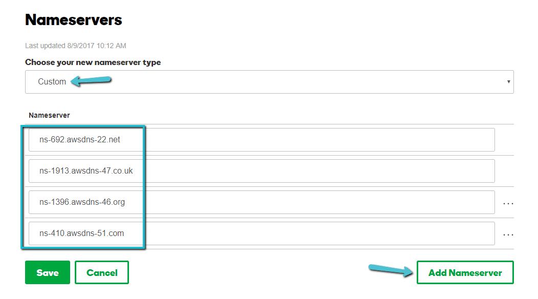 Ajouter les serveurs de noms de Kinsta