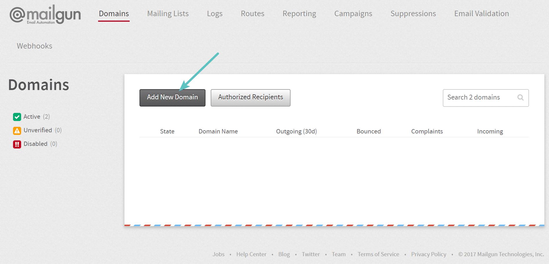 Ajouter un nouveau domaine dans Mailgun