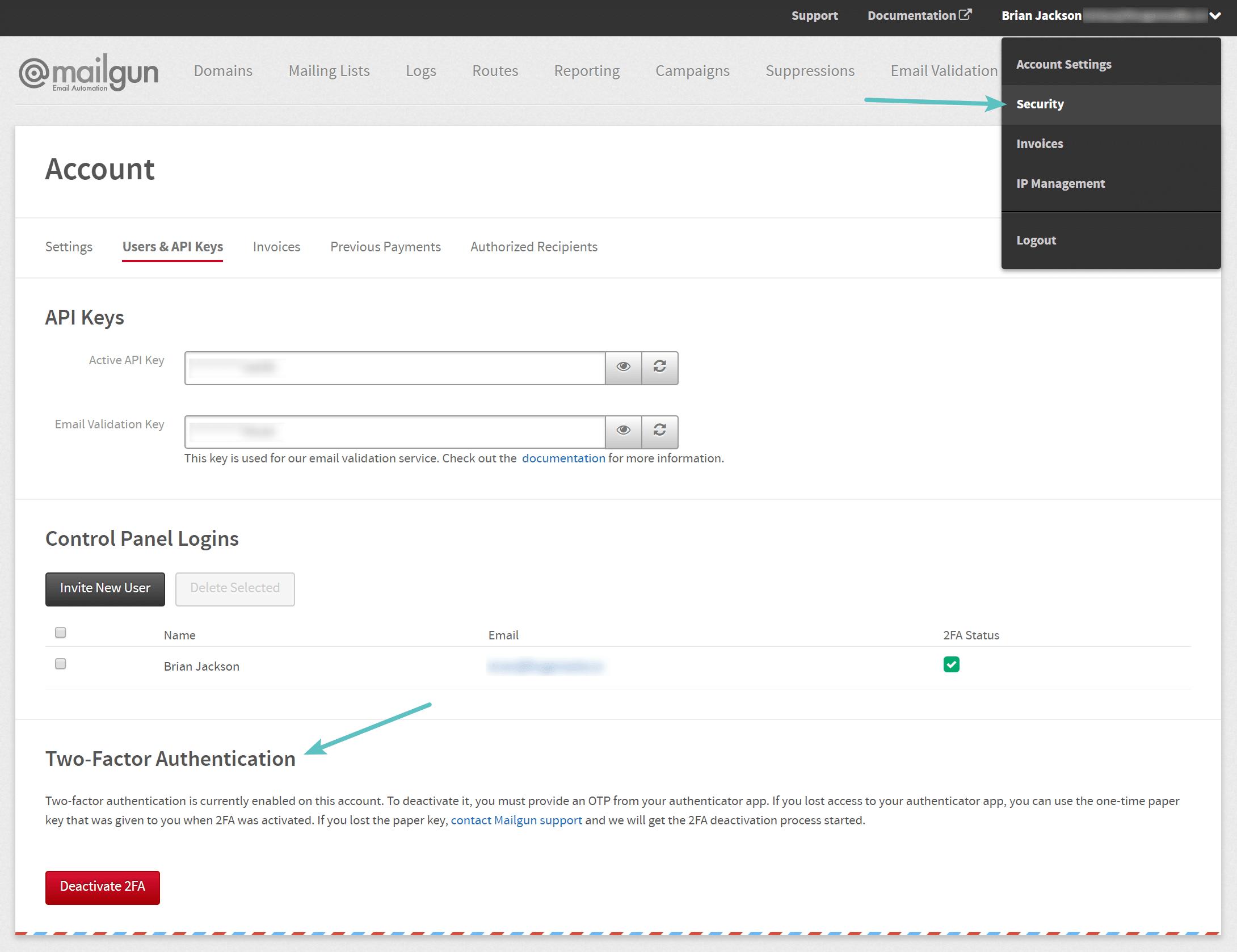 Authentification à deux facteurs sur Mailgun