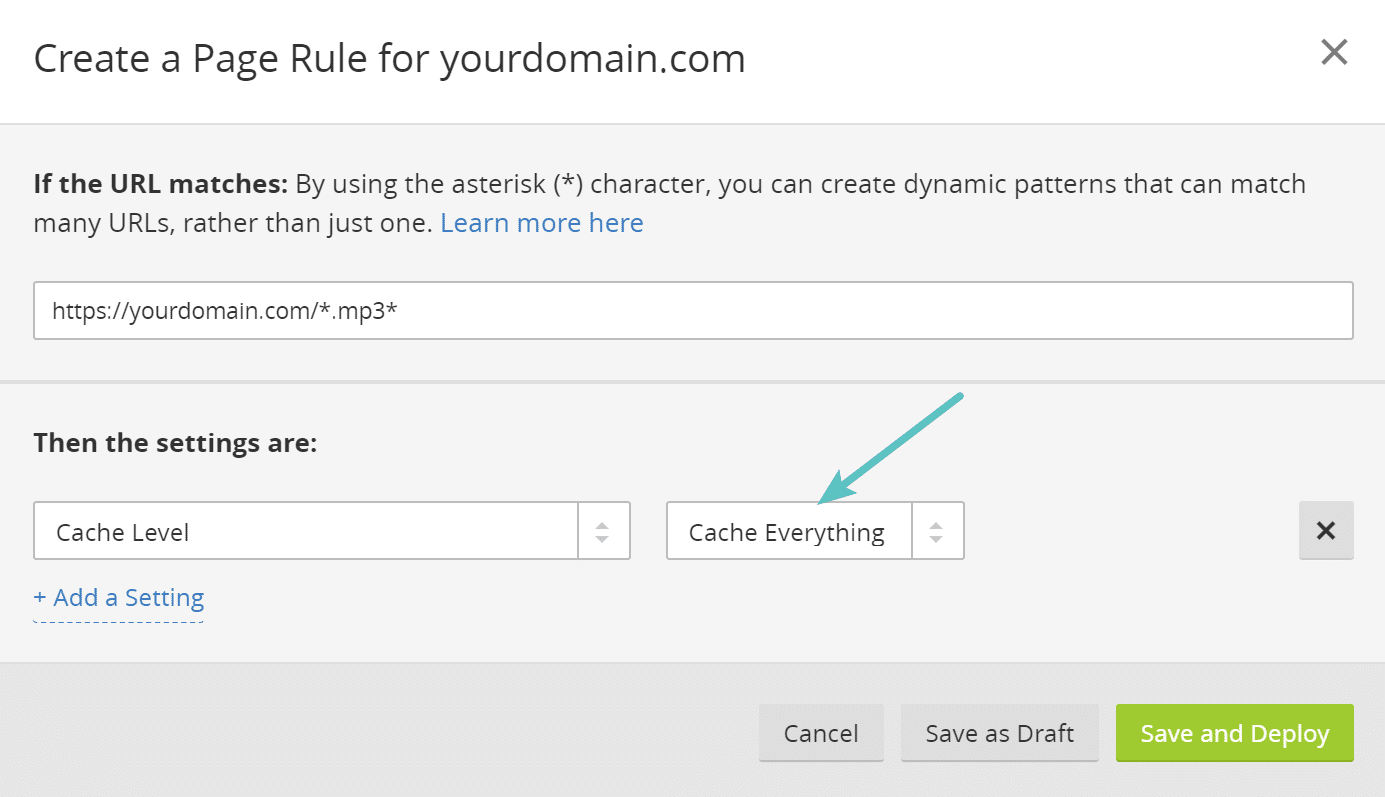 Règle de page dans Cloudflare pour mettre en cache les fichiers .mp3