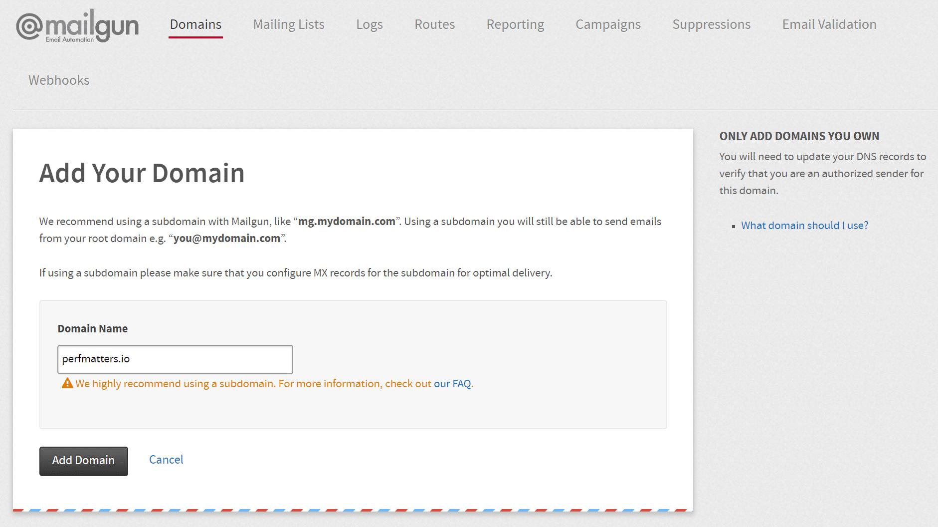 Configuration du domaine Mailgun