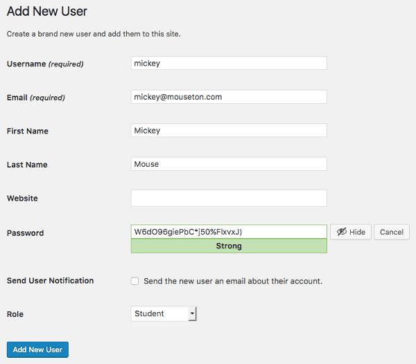 Affectation du rôle Étudiant à un nouvel utilisateur dans l'écran d'ajout d'un utilisateur