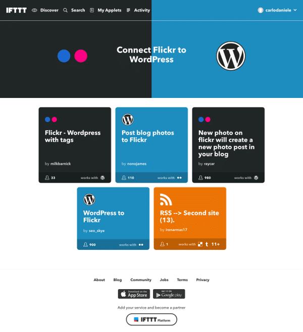 Connecter Flickr à la page WordPress
