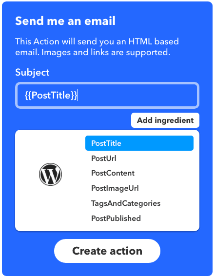 Ingrédients WordPress