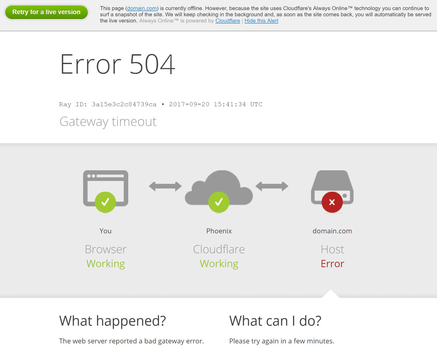 Erreur 504 gateway timeout sur CloudFlare