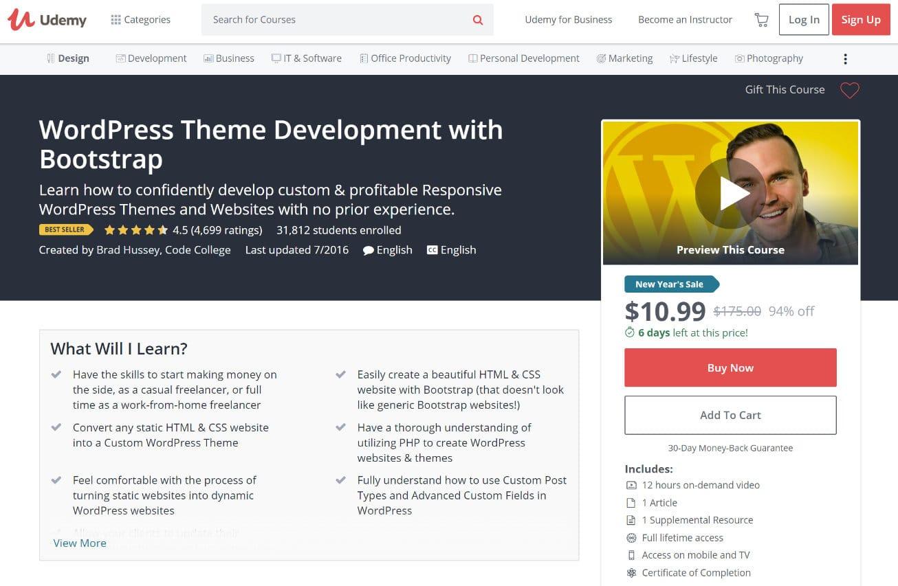Développement de thème WordPress Udemy
