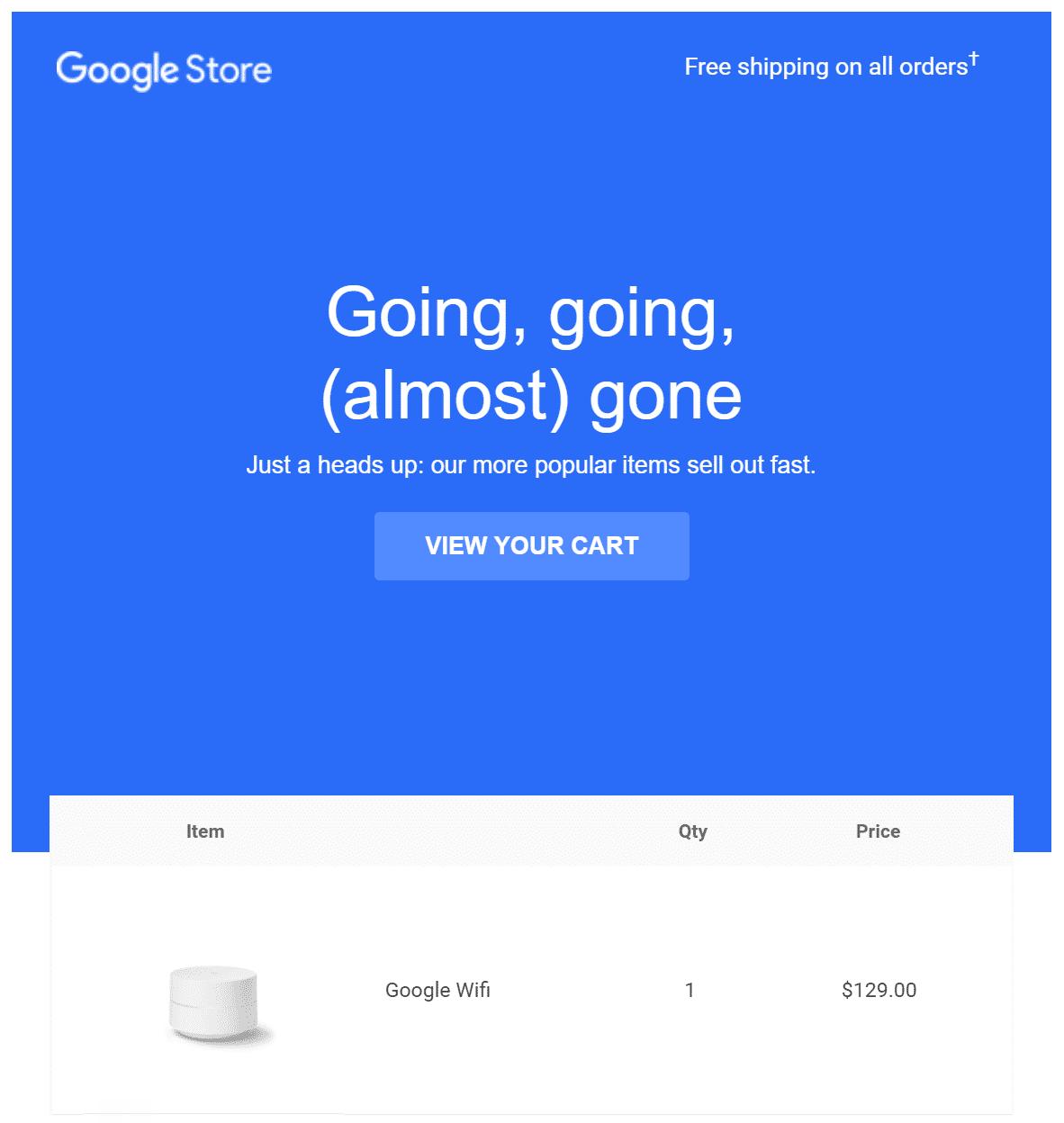 E-mail automatisé d'abandon de panier exemple 3