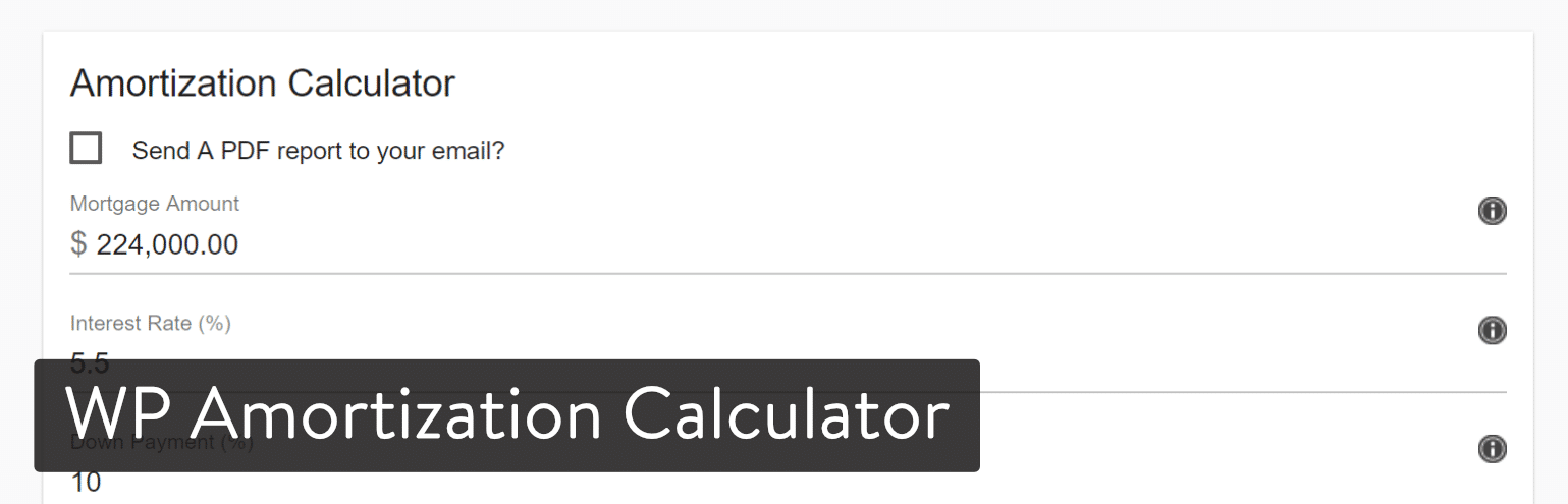 Extension WordPress WP Amortization Calculator