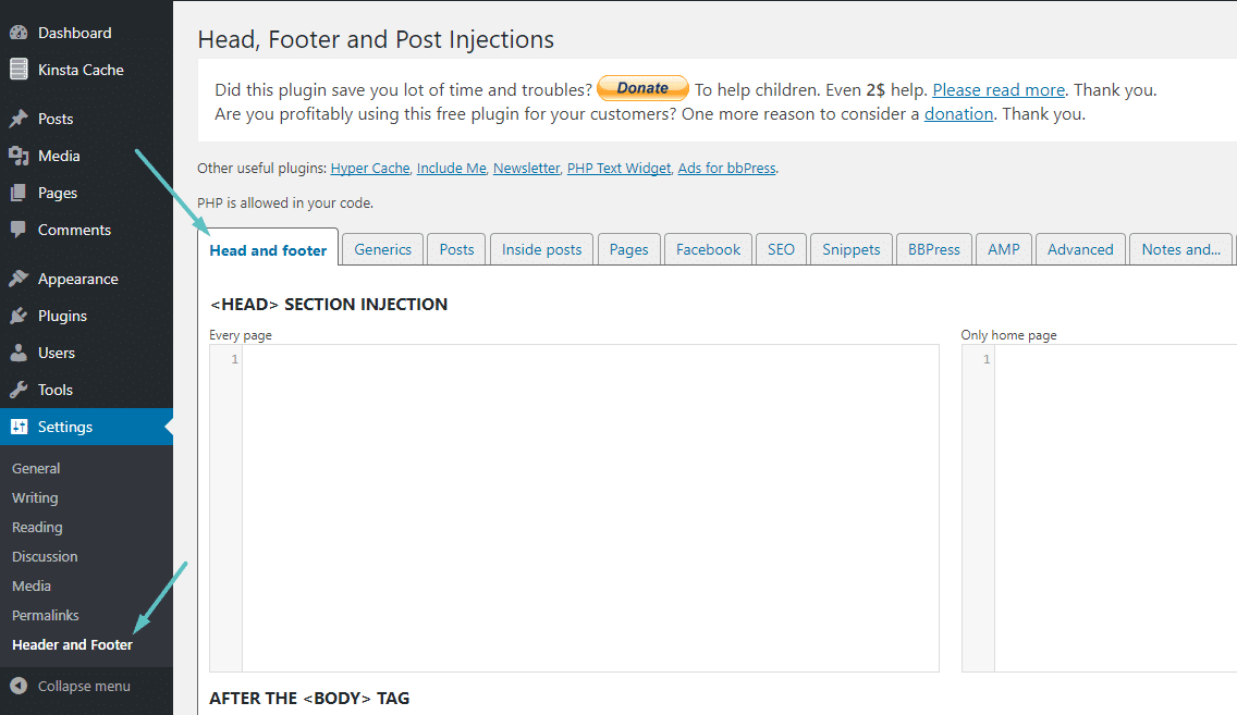 Interface de Head, Footer and Post Injections