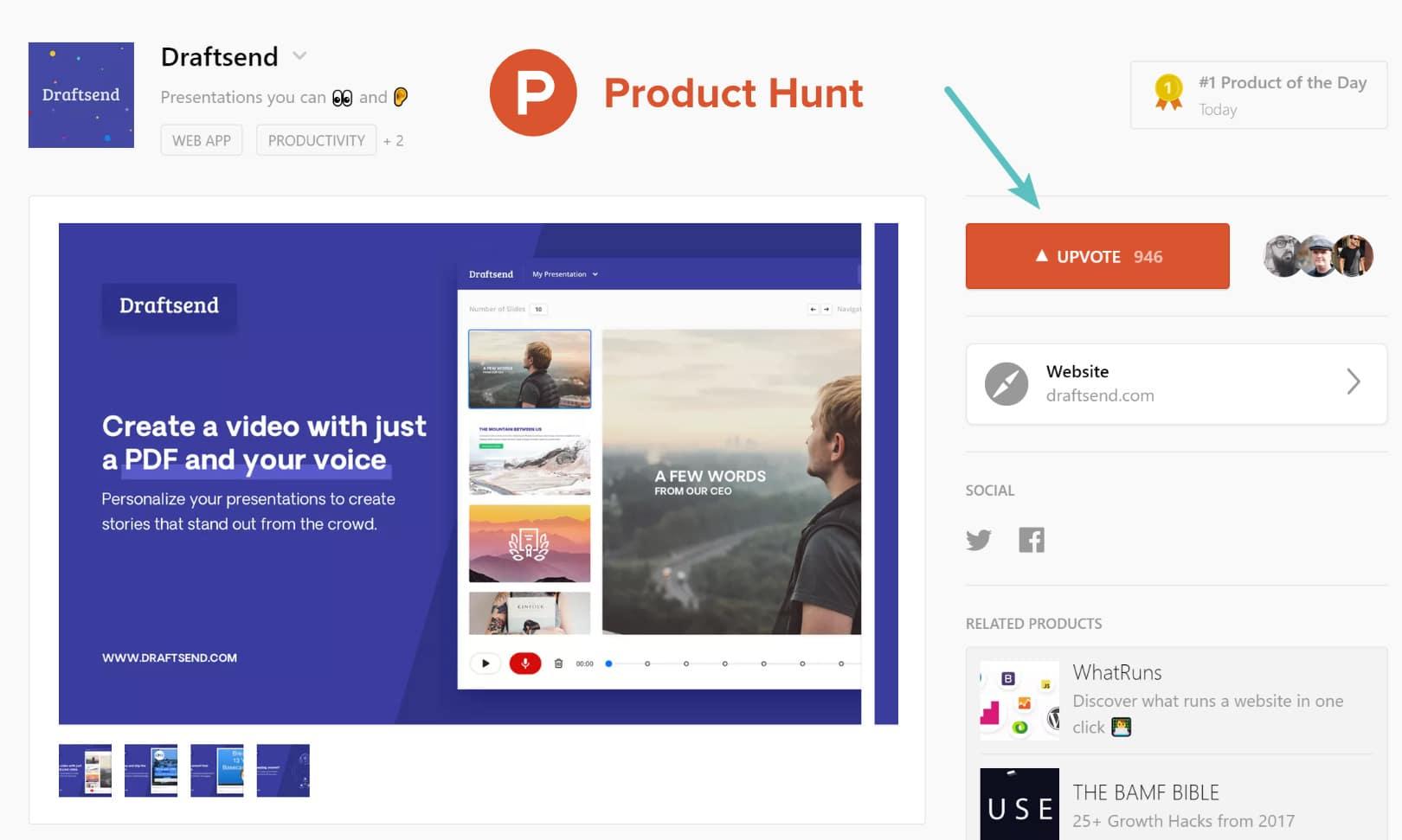 Lancement de produit sur Product Hunt