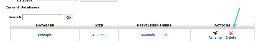 Supprimer la base de données dans cPanel