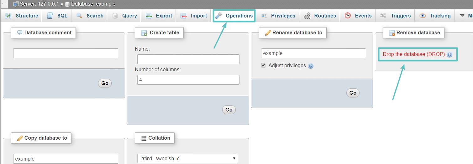 Supprimer la base de données dans phpMyAdmin