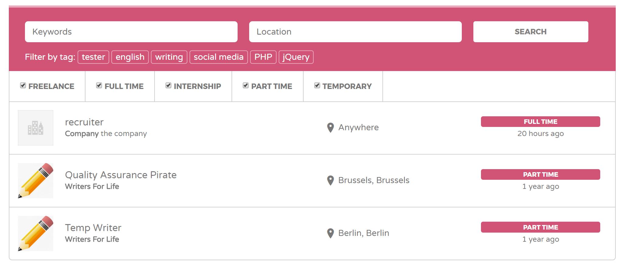 Tableau d'offres d'emploi dans WordPress