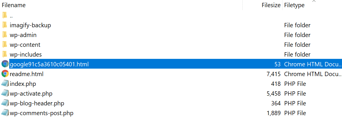 Fichier de vérification de la GSC