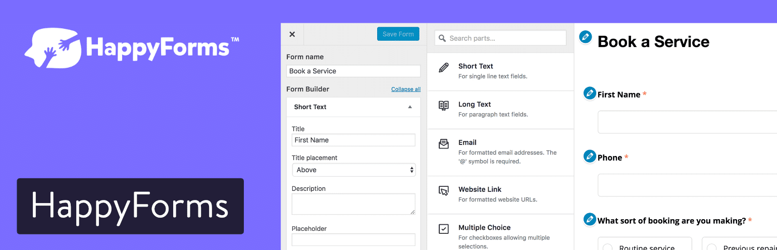 Plugin pour formulaire de contact HappyForms