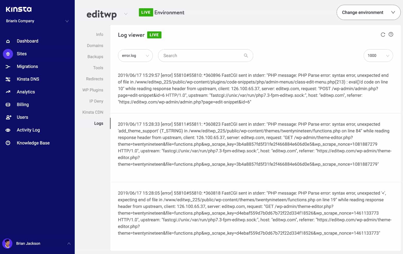Vérifier les logs d'erreurs à la recherche d'erreurs 502 bad gateway