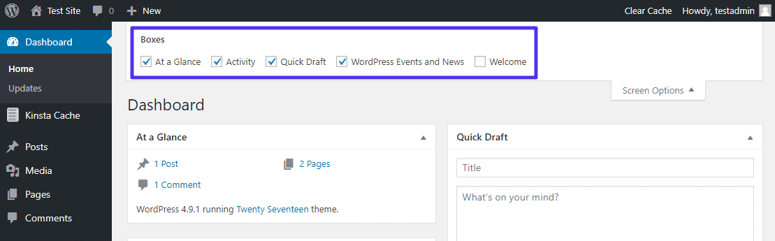 Boîtes d'administration WordPress