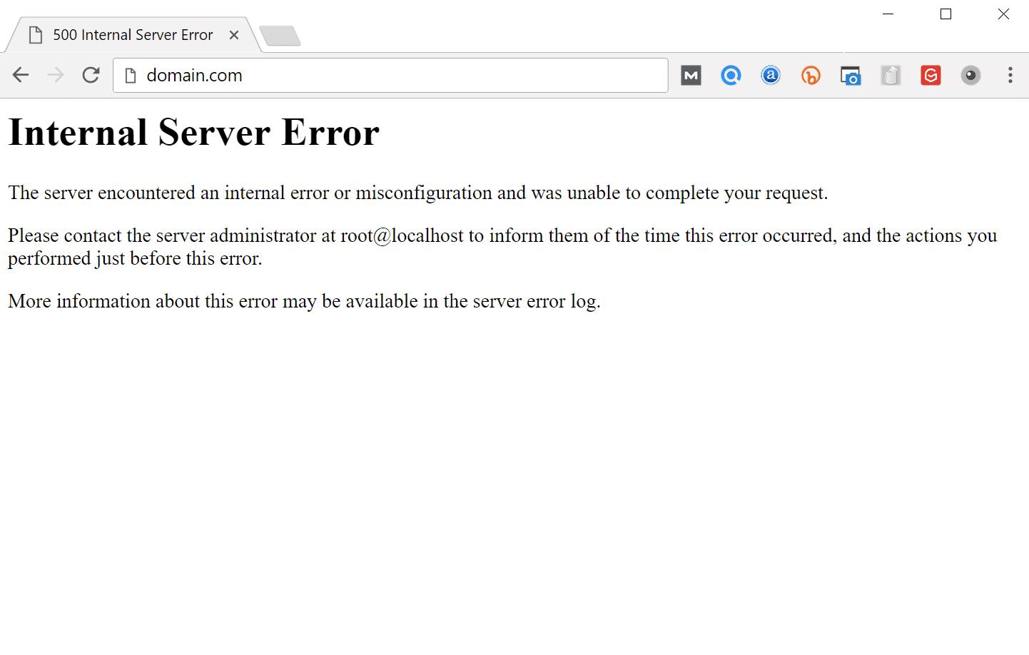 Erreur interne du serveur