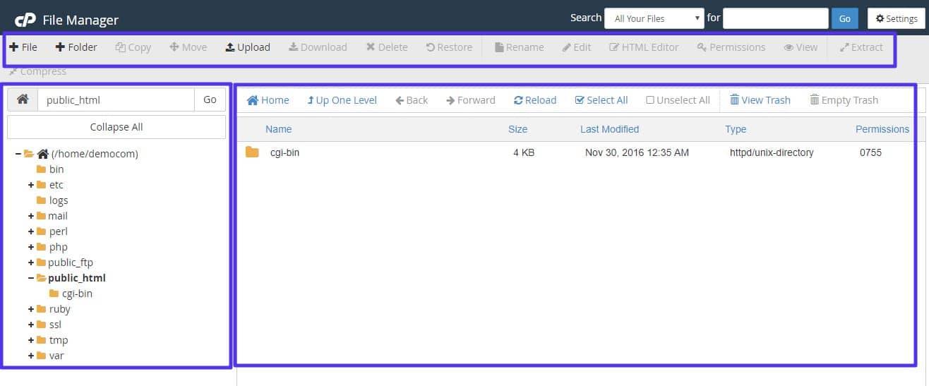 L'interface du gestionnaire de fichiers cPanel