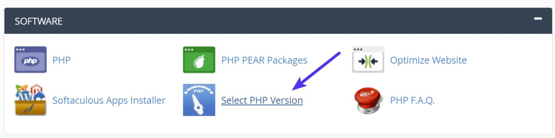 Sélectionner la version PHP