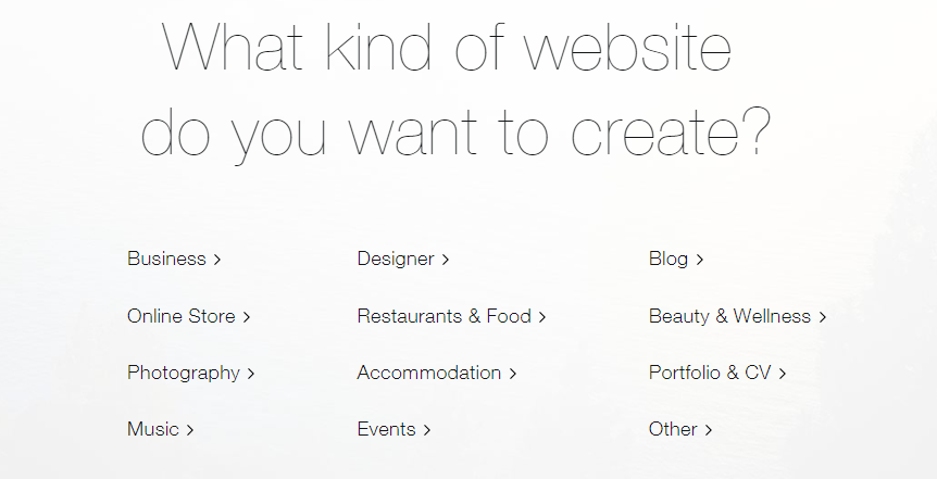 Choisir le type de site Wix à créer