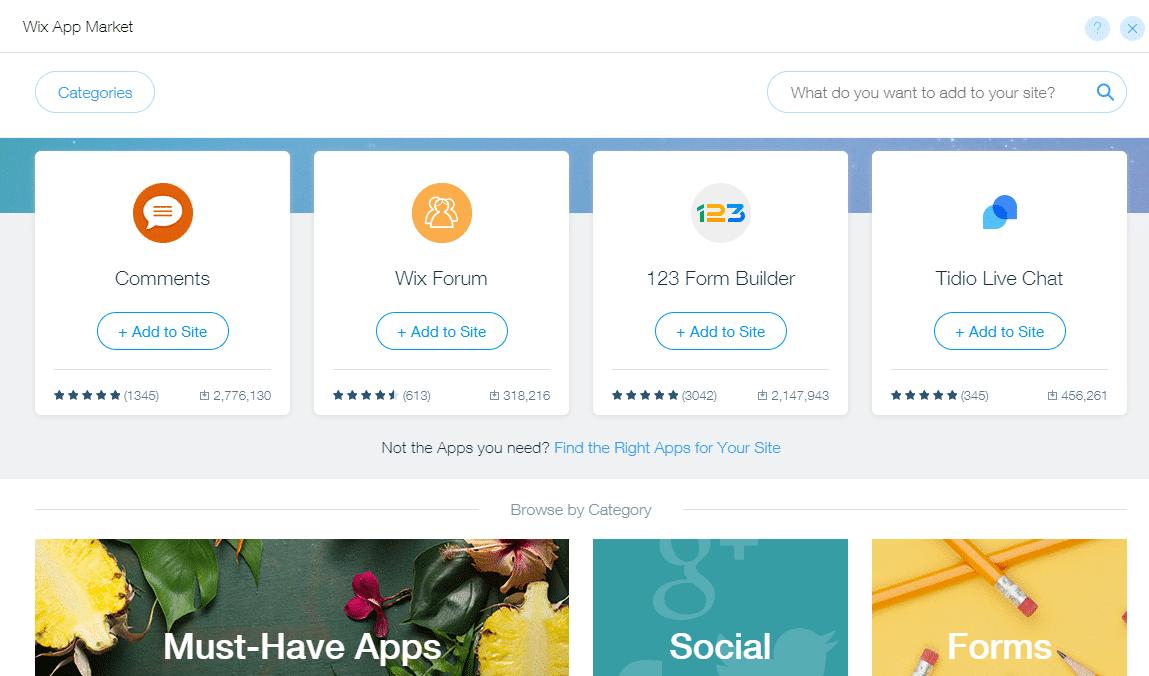 Le marché des applications Wix
